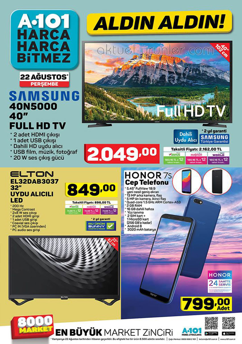 A101 22 Ağustos TV ve Akıllı Telefon İndirimleri