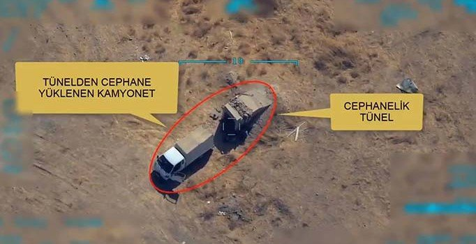 MSB paylaştı: Mühimmat ikmali yapan teröristlere nokta atışı